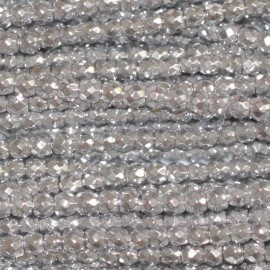Hematite 2 mm round bead faceted silver