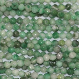 Jasper green 2 mm round faceted bead