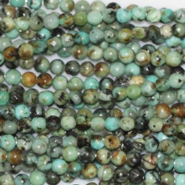 Turquoise Africa 2 mm faceted round pearl