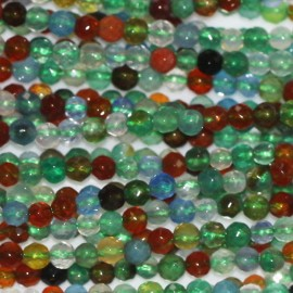 Mixed agate 2 mm faceted round bead