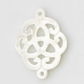 Mother-of-pearl 18 mm white rosette 2 rings