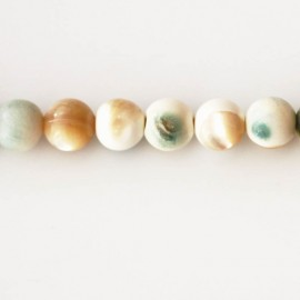 Bead 9 mm round mother-of-pearl green/beige