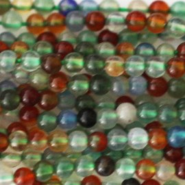 Agate mixed 2 mm round bead
