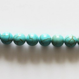 Howlite 8 mm round turquoise bead