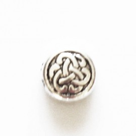 Spacer 10 mm round silver Chinese knot