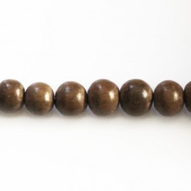 Wooden grey 8 mm round bead