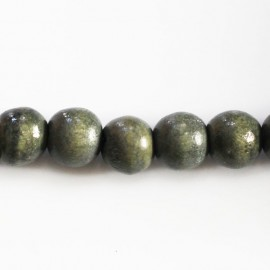 Wooden bead 10/11 mm round grey green