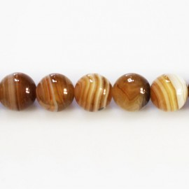 BeauMonde Jewelry - Agate 10 mm round brown veined