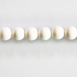 White agate opaque 8 mm round bead