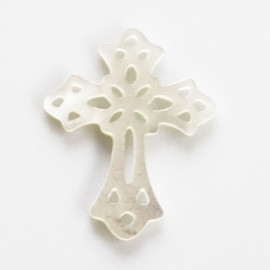 Cross openwork white mother-of-pearl 30 x 24 mm