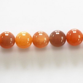 BeauMonde Bijoux - Agate 10 mm perle ronde orange du Bostwana