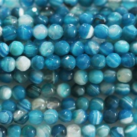 BeauMonde Jewelry - Agate 4 mm round faceted blue veined