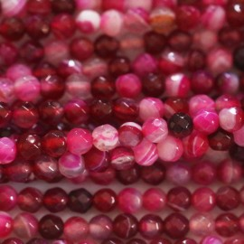 BeauMonde Jewelry - Agate 4 mm round faceted veined fuchsia