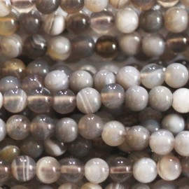 BeauMonde Jewelry - Agate bead Botswana 4 mm round grey tones