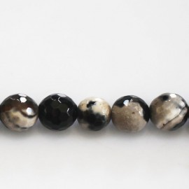 Agate beads 10 mm round faceted beige/black