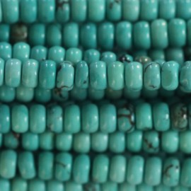 Howlite 3X4 mm rondelle ronde (nouvelle turquoise)