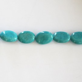 Howlite 8x10 mm ovale plat turquoise