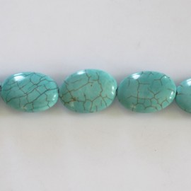 Howlite 14 x 10 mm oval turquoise flat