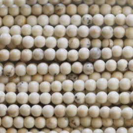 Howlite 3 mm perle ronde ivoire