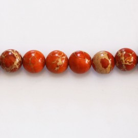 Jaspe impression 8 mm perle ronde orange