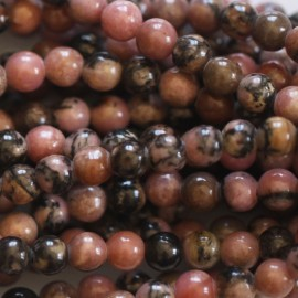 Rhodonite 4 mm round bead veined black Australia