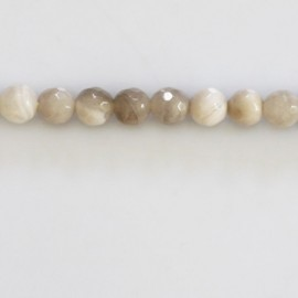 Agate 6 mm round faceted white/grey bead