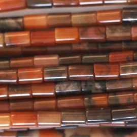 Agate 3x4 mm tube orange/gris