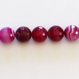 BeauMonde Jewelry - Agate 10 mm round faceted bead veined fuchsia