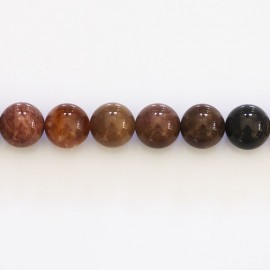 Petrified wood 8 mm round bead Madagascar