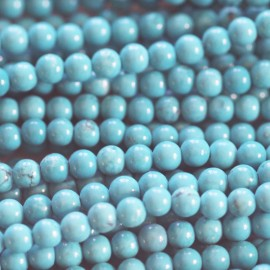 BeauMonde Bijoux - Howlite turquoise 4 mm perle ronde ton clair