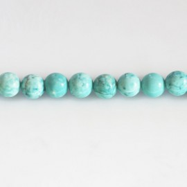 Howlite turquoise 6 mm round bead light tone
