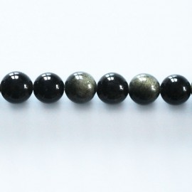 Obsidian gold 7/8 mm round bead Mexico