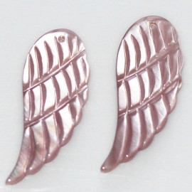 Nacre rose 29x12 mm aile d'ange
