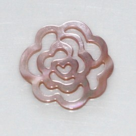 Medallion 17 mm mother-of-pearl pink openwork