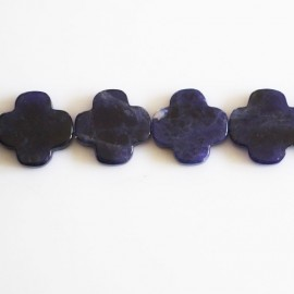 BeauMonde Jewelry - Sodalite 13 mm flat flower 4 petals