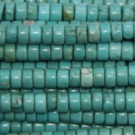 Howlite 3x4 mm rondelle turquoise droite
