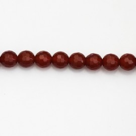 BeauMonde Jewelry - Carnelian 6 mm faceted round bead (red agate) Brazil