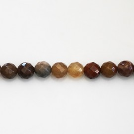 Petrified wood 6 mm round faceted bead Madagascar