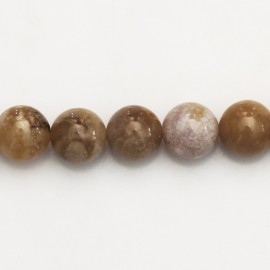 BeauMonde Jewelry - Agate Ocean fossil 10 mm round bead