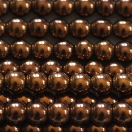 Hematite 4 mm round copper bead