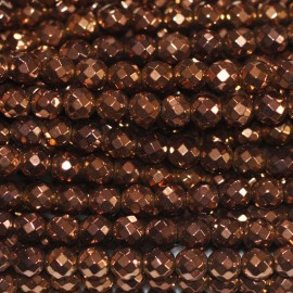 Hematite copper 4 mm round faceted bead