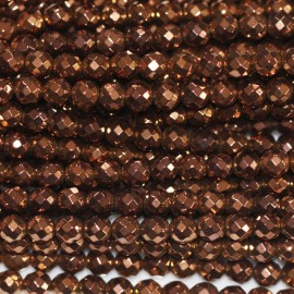 BeauMonde Jewelry - Hematite copper 3 mm round faceted bead