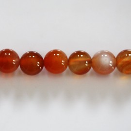 Natural carnelian 8 mm round bead Madagascar
