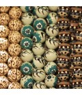 Tinted wood round patterned beads