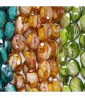 Opaque faceplate oval glass beads